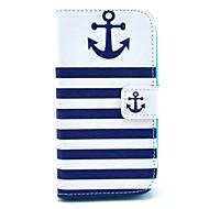 Для Кейс для  Samsung Galaxy Кошелек / Бумажник для карт / со стендом / Флип / С узором Кейс для Чехол Кейс для Якорь Искусственная кожа