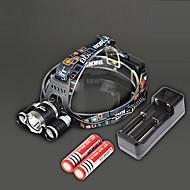 RJ-3000 Hodelykter Ladere LED 4000 Lumens 4.0 Modus Cree XM-L T6 Oppladbar Lommelykt til Camping/Vandring/Grotte Udforskning Reise Svart