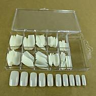 10x10pcs Mixs størrelse naturlig fuld nail art tips