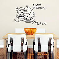 Coffee Cup Shaped Modern  Cute Plastic Wall Stickers(Black color x1pcs)