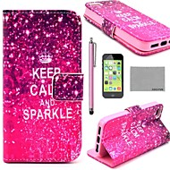 halpa -KOKO FUN ® Calm Sparkle Pattern PU Leather Full Body Case Screen Protector, Stylus ja teline iPhone 5C