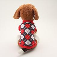 お買い得  ペット用品 & アクセサリー-犬 Tシャツ 犬用ウェア 格子柄 ブラック ブルー コットン コスチューム ペット用 男性用 女性用 クラシック カジュアル/普段着