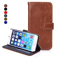 billige -Etui Til Apple iPhone 6 iPhone 6 Plus Kortholder Lommebok med stativ Flipp Heldekkende etui Helfarge Hard PU Leather til iPhone 6s Plus