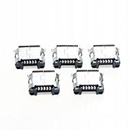 abordables Accesorios para Arduino-micro usb conector de enchufe hembra de 5 pines - plata (paquete de 5 piezas)