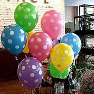 billige -farverige ballon med hvid prik - sæt af 10 (flere farver)