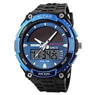 SKMEI Муж. Спортивные часы электронные часы Цифровой Солнечная энергия С двумя часовыми поясами Солнечная энергия Pезина Группа
