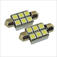 Carking™ 12V 2PCS 5050-6SMD-36MM Car Festoon Interior Light Rome Lamp White Light