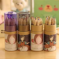 abordables Manualidades para Álbumes de Fotos-Cartoon Girl Pattern 12 Color Painting Pencil Set(12 PCS/Set)