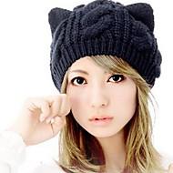 Для женщин Очаровательный На каждый день Вязаная шапочка,Зима Шерсть Однотонный