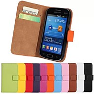 halpa Galaxy Trend Lite-Etui Käyttötarkoitus Samsung Galaxy Samsung Galaxy kotelo Korttikotelo Lomapkko Tuella Flip Suojakuori Yhtenäinen väri PU-nahka varten