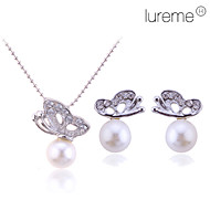 Women's Jewelry Set - Pearl Butterfly, Animal Ladies, Basic, Elegant, Bridal Include Stud Earrings Pendant Necklace Silver For Wedding Party Gift Daily
