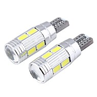 cheap LED Car Bulbs-T10 3W 300lm 6000k 10-SMD 5730 LED White Astigmatism Convex Mirror Width Lamp (12V / 2 PCS)