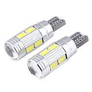T10 3ワット5730が主導300LM 6000K 10-SMD白乱視凸面鏡幅ランプ(12V / 2個)