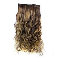 24-дюймовый 120г долго жаропрочных синтетического волокна вьющиеся клип в наращивание волос с 5 клипов