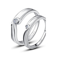 tanie Personalizowane dodatki do odzieży-spersonalizowany prezent proste 925 srebro pary pierścienie