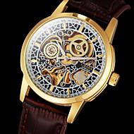 Męskie Zegarek na nadgarstek zegarek mechaniczny Nakręcanie automatyczne Grawerowane Skóra Pasmo Ekskluzywne Brązowy Brown