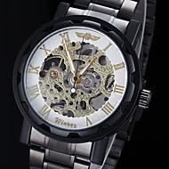 abordables Winner-WINNER Hombre Reloj de Pulsera / El reloj mecánico Huecograbado Acero Inoxidable Banda Encanto Negro / Cuerda Manual