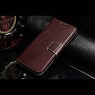 お買い得  Samsung 用 ケース/カバー-のために Samsung Galaxy ケース カードホルダー / スタンド付き / フリップ ケース フルボディー ケース ソリッドカラー 本革 Samsung S6
