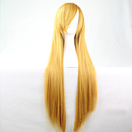 Women Synthetic Wig Long Straight Yellow Costume Wig