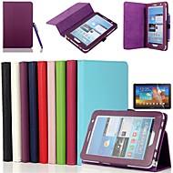 Недорогие Чехлы и кейсы для Samsung Tab-Кейс для Назначение SSamsung Galaxy Кейс для  Samsung Galaxy со стендом Флип Чехол Сплошной цвет Кожа PU для Tab 2 7.0
