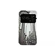 Недорогие Чехлы и кейсы для Galaxy А-Кейс для Назначение SSamsung Galaxy Кейс для  Samsung Galaxy со стендом Флип С узором Чехол Вид на город Кожа PU для A3