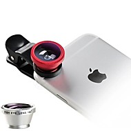 Universal 3 in 1 Cell Phone Camera Lens Kit - Fish Eye Lens / 2 in 1 Macro Lens & Wide Angle Lens / Universal Clip
