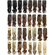 """Angelaicos Womens 22"""" Long Curly Wavy Brown Black Blonde Ribbon Hair Ponytail Extensions Synthetic Hairpiece"""