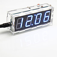 DIY 4-numeroinen seitsemän segmentin näyttö digitaalinen valo-ohjaus työpöytäkello pakki (sininen valo)