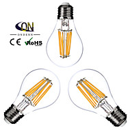 E26/E27 LED Filament Bulbs A60(A19) 8 COB 800lm Warm White 2800-3200K Dimmable AC 220-240 AC 110-130V