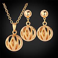 abordables U7-u7® pendientes de gota hueco bola lindo oro 18k / platinados pendientes simples de estilo collares de la joyería de