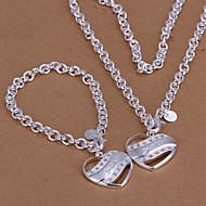 女性 ジュエリーセット キュート パーティー 幸福 リンク/チェーン ファッション パーティー 誕生日 キュービックジルコニア 銀メッキ ハート ブレスレット ネックレス