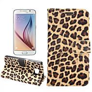 Недорогие Чехлы и кейсы для Galaxy S6 Edge Plus-Для Кейс для  Samsung Galaxy Бумажник для карт / со стендом / Флип Кейс для Чехол Кейс для Леопардовый принт Искусственная кожа для