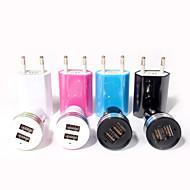 billige -Bil Oplader Oplader til hjemmet Lille og mobil oplader Telefon USB oplader EU Stik Opladerkit Multiporte 3 USB-porte 2.1A 1A AC 100V-240V