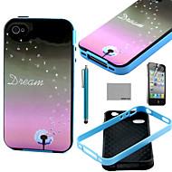 iPhone 4 / 4S用スクリーンプロテクターとスタイラスでココfun®タンポポの夢のパターンソフトTPUバックケースカバー