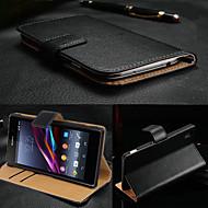 お買い得  携帯電話ケース-ケース 用途 Sony Xperia Z3 / Sony Xperia Z3 / Sonyケース ウォレット / カードホルダー / スタンド付き フルボディーケース ソリッド ハード 本革 のために Sony Xperia Z3 / Sony