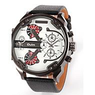 저렴한 -Oulm 남성용 밀리터리 시계 손목 시계 석영 일본 쿼츠 듀얼 타임 존 가죽 밴드 럭셔리 블랙 블루 브라운