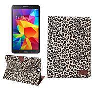 Недорогие Чехлы и кейсы для Galaxy Tab A 9.7-Для Кейс для  Samsung Galaxy Кошелек / Бумажник для карт / со стендом / Флип Кейс для Чехол Кейс для Леопардовый принт Искусственная кожа