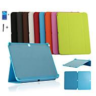För Samsung Galaxy-fodral med stativ Lucka Origami fodral Heltäckande fodral Enfärgat PU-läder för Samsung Tab 4 10.1