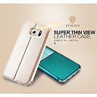 저렴한 -용 삼성 갤럭시 케이스 스탠드 / 윈도우 / 플립 케이스 풀 바디 케이스 단색 인조 가죽 Samsung S6 edge