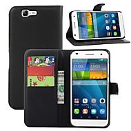 お買い得  携帯電話ケース-ケース 用途 Huawei社G7 Huawei Huaweiケース カードホルダー ウォレット スタンド付き フリップ フルボディーケース 純色 ハード PUレザー のために Huawei G7 Huawei