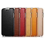 Недорогие Модные популярные товары-Кейс для Назначение Apple iPhone 6 iPhone 6 Plus Флип Чехол Сплошной цвет Твердый Настоящая кожа для iPhone 6s Plus iPhone 6s iPhone 6