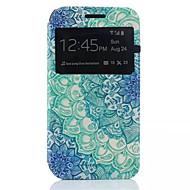 Для Кейс для  Samsung Galaxy со стендом / с окошком / Флип Кейс для Чехол Кейс для Цветы Искусственная кожа Samsung J1