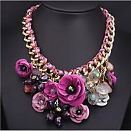 Женский Ожерелья с подвесками Заявление ожерелья В форме цветка Синтетические драгоценные камни Сплав Цветочный дизайн Цветы Цветной
