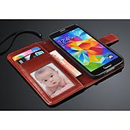 お買い得  携帯電話ケース-ケース 用途 Samsung Galaxy Samsung Galaxy ケース ウォレット / カードホルダー / スタンド付き フルボディーケース ソリッド PUレザー のために S5