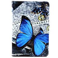 Назначение Кейс для  Samsung Galaxy Чехлы панели Бумажник для карт Кошелек со стендом Флип С узором Чехол Кейс для Бабочка Искусственная