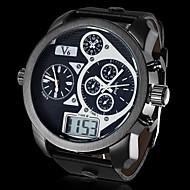 お買い得  -V6 男性用 軍用腕時計 日本産クォーツ カレンダー スポーツウォッチ LCD PU バンド アナログ/デジタル ブラック - ホワイト ブラック