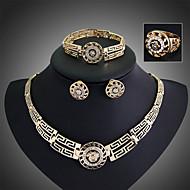 billige -Dame Smykke Sett Øredobber Armbånd Ring Mote Erklæringssmykker Vintage Festival/høytid kostyme smykker Østerrisk krystall Smykker