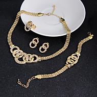 Dame Smykke Sæt Ørering Armbånd Statement-smykker Vintage kostume smykker Kvadratisk Zirconium Cirkelformet Halskæder Øreringe Ringe