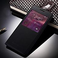 Для Кейс для  Samsung Galaxy с окошком / С функцией автовывода из режима сна / Флип Кейс для Чехол Кейс для Один цвет Искусственная кожа