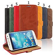 お買い得  Samsung 用 ケース/カバー-ケース 用途 Samsung Galaxy Samsung Galaxy ケース カードホルダー ウォレット スタンド付き フリップ フルボディーケース 純色 本革 のために S4